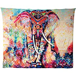 Boho indio elefante tapiz de color Impreso decorativo Mandala Tapestry, rojo rosado (B(203cmx153cm))