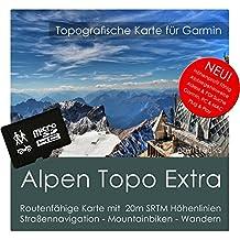 alpen Garmin tarjeta Topo extra–8GB MicroSD. (Alemania Austria Italia Suiza Francia Eslovenia) GPS Tiempo Libre tarjeta bicicleta Senderismo Excursiones Senderismo Geocaching exterior. Navegación dispositivos & PC