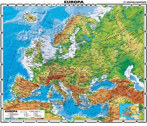 XXL 1,64 Meter - Original handgezeichnete Relief Europa-Karte - antireflex-entspiegelt laminiert