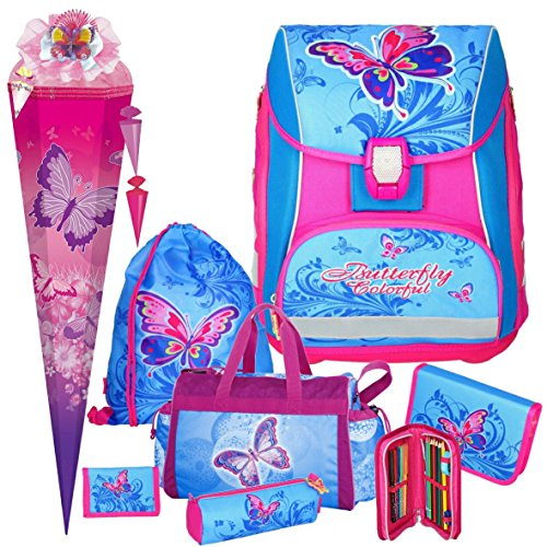 Spirit BUTTERFLY Pro Light - Schmetterling - Leicht-Schulranzen-Set mit BLINKENDEM LED-Schloss 8teilig mit SCHULSPORTTASCHE, SCHULTÜTE und SCHULTÜTENSCHMUCK-Set Mädchen 1. Klasse boi