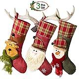 3 Pcs CRXOOX Calze di Natale con Babbo Natale Pupazzo di Neve e Renne, Decorazioni Natalizie,Sacchetti di Caramelle
