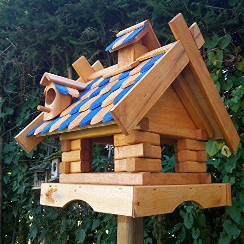 Vogelhaus Massivholz Schreinerarbeit Futterhaus Vogelhäuschen –Wetterschutz– K21aNB - 2