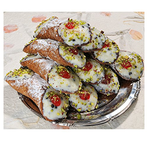 6 Sicilian Cannoli with Pure Sheep's Milk Ricotta Covered with Pistachios - 24h Shipping from Italy