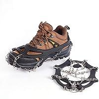 Suntapower Tipo di Cinturino Ramponi, 18 Denti Artigli Multi-Funzione Antiscivolo Ice Cleat Ramponi con Catena in Acciaio Inox per Picco di Ghiaccio Escursionismo Camping Moutaineering