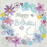 Serviette Servietten Geburtstag Happy Birthday Verschiedene Ausgefallene Motive zur Auswahl Edel 33x33 cm 20 Stück 3-Lagig (Serviette Geburtstagsblumen)