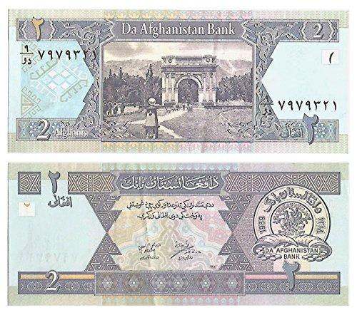 Zubehör für Sammler - Die Zentralbank von Afganistan / 2 Afgans / Crisp und uncirculated Note 2002 / Original Papiergeld ausgegeben (Uncirculated Währung)