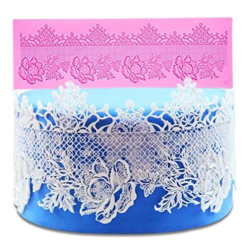 Preisvergleich Produktbild 35x 11.4cm Blume Muster Silikon Spitze Matte Backmatte Formen Fondant Schokolade Kuchen dekorieren Tools geprägt Bakeware Formen für Hochzeit Geburtstag Kuchen Decor