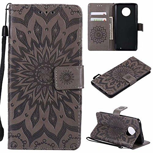 (COWX Leder Kreditkarten Brieftasche Handy Schutzhülle für Motorola Moto G6 Plus Hülle Tasche Flip Case Sonnenblume – Grau)
