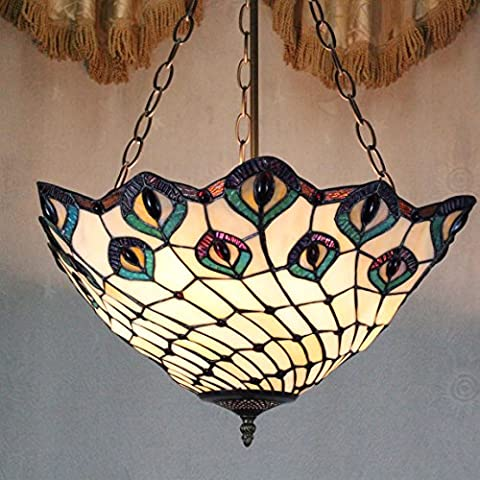 Style Pastoral Vintage Européenne Tiffany 16-Inch Peacock Main Stained Glass Pendant Lamp Salle Lumineuse