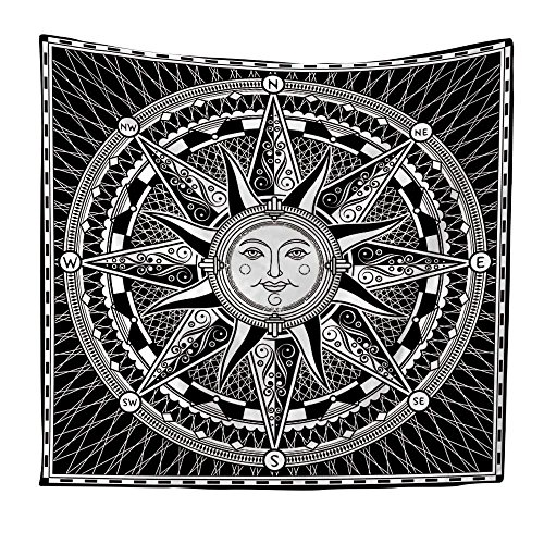 KaO0YaN Hippie Mandala Tapices, Bohemio Tradicional Colgante Decoración, Indio Boho Gypsy Algodón Mantel Toalla de Playa, Tapiz de Pared Colgante, Brújula Solar, 200x150cm