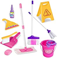 HALO NATION Kids Cleaning Set 11 Piece - Toy Cleaning Set Includes Broom, Mop, Brush, Dust Pan, Wiper, Soap Bottle, Soap, Bucket, Caution Sign, - Toy Kitchen Toddler Cleaning Set