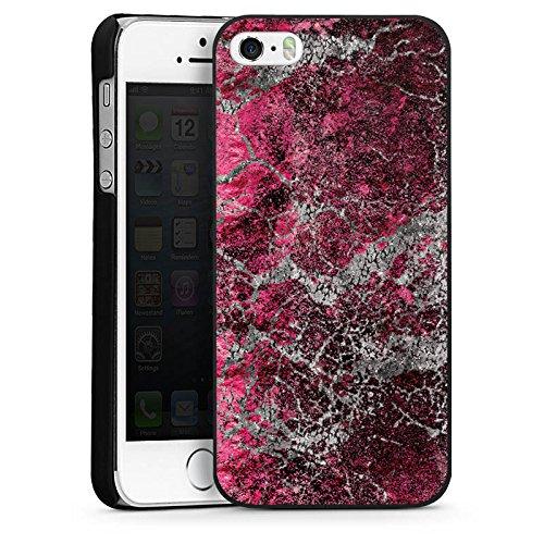 Apple iPhone 5 Housse Étui Silicone Coque Protection Pierre Structure Motif look CasDur noir