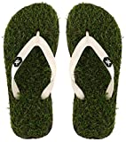 #3: Maddy Men's White Designer Casual Synthetic Grass Slippers