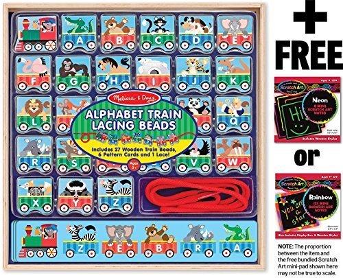 Melissa & Doug ABC Lacing Train Play Set + FREE Melissa & Doug Scratch Art Mini Pad Bundle [94979]