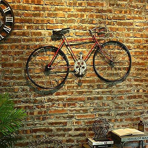 SUNSPJ Sepia Bicicleta de hierro rojo Decoración de pared Pared 123*64cm.