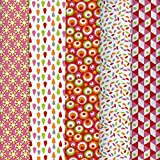 Textiles français Stoffpak bundle de telas - 5 telas: rosa y rojo con anís, naranja, gris y blanco - colección de telas 'soñar con colores' | 100% algodón | 50 cm x 40 cm