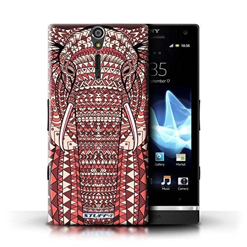 KOBALT® Hülle Case für Sony Xperia S/LT26i | Wolf-Sepia Entwurf | Aztec Tier Muster Kollektion Elefant-Rot