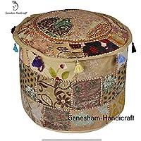 Indian Bestickt Patchwork osmanischen Cover, traditionelle indische dekorative Pouf Polsterhocker, bequem Boden Kissen, Baumwolle osmanischen Pouf, Indian Home dekorativ indische Handarbeit Vintage Pouf Polsterhocker