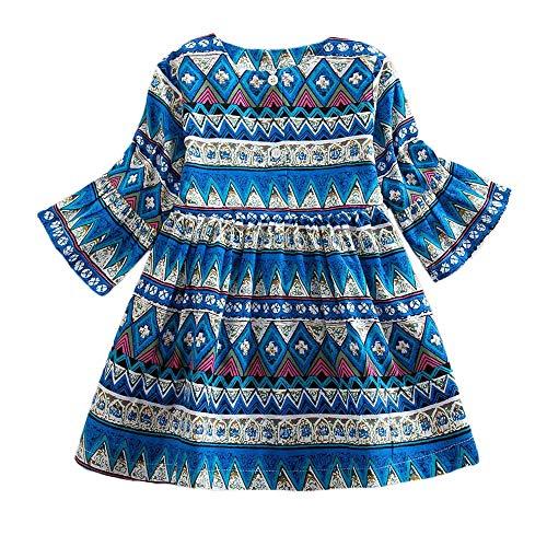 (Quaan Kleinkind Baby Mädchen Lange Ärmel Drucken Bohemien Stil Party Kleid Outfits Kleider Baumwolle niedlich Charakter beiläufig warm weich gemütlich Mantel Sweatshirt Windjacke)