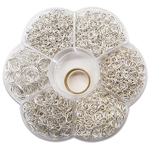 TOAOB 1500 Stück Biegeringe Spaltringe Versilbert 5 bis 10mm gemischte Größe mit Öffner Näher für Perlenweben Zubehör