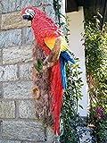 Deko Gartenfigur roter Papagei Ara Tierfigur Dschungel Wanddeko Urwald