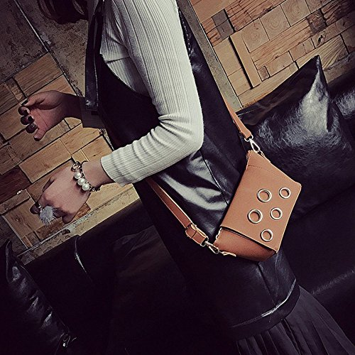Longra Donne Retro Messenger Bag Tracolla Handbag Marrone