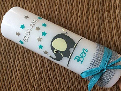 Taufkerze mit Elefant - inkl. Beschriftung von Babyprince® - handgearbeitete Wachsverzierungen - !!! keine Folie !!!