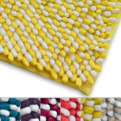 Chenille Badematte Manta   moderner Microfaser Badvorleger in Trendfarben   ÖKO TEX Standard 100   extra hoch   Komfortgröße 50x80 cm für Badezimmer   Gelb - Weiß (Rot-orange-bad-teppiche)