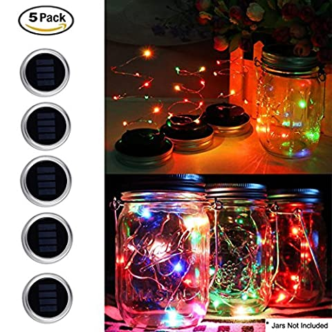 5 Pack Mason Jar Lights 10 LED mason jars with lights Lid Fairy String Lamp for Patio Garden Path Wedding Party Decorative Festival Celebration Light (Jars Not