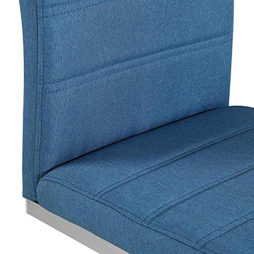 4er Set Esszimmerstuhl Küchenstuhl Schwingstuhl MODESTO, Gestell in chrom, Stoffbezug in blau - 4