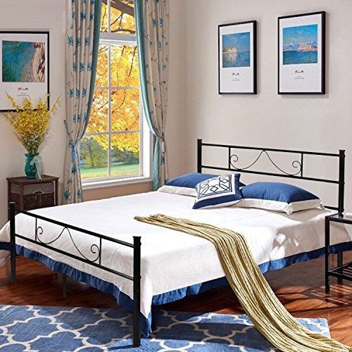 Aingoo metallo doppio telaio del letto in black