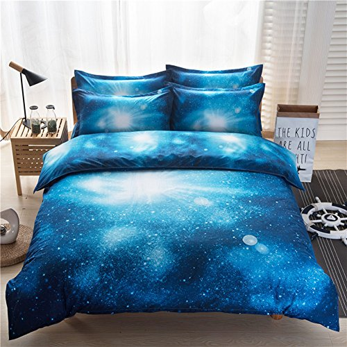 3D Funda de edredón, Morbuy 3pcs / 4pcs ropa de cama de la impresión del cielo de la galaxia Microfiber del poliester cremallera ropa de cama del lecho de la cubierta del edredón (3 pcs 200 x 230 cm, D)