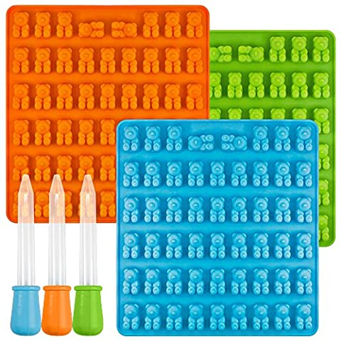 [New] Bear Candy Silicone Molds Ice Cube Trays with 3 Droppers, SENHAI 3 Pack Gumdrop Molds for Jelly Chocolate Soap Cake Wax, Available in Oven Fridge Microwave Oven Freezer