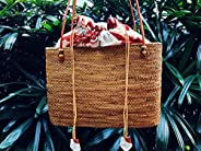 Borsa in tessuto intrecciata in rattan, Woven Rattan Basket Tote Bag