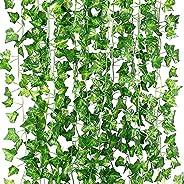 عريشة اوراق اللبلاب الاصطناعية من ستاثام، اكليل معلق بزهور واوراق شجر وهمية للمنزل والمطبخ والحديقة والمكتب ود