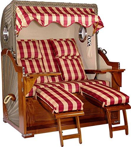 foolonli Strandkorb Luxus 2,5 Sitzer aufgebaut Rot Kariert mit Bullauge Mahagoni Holz XXL