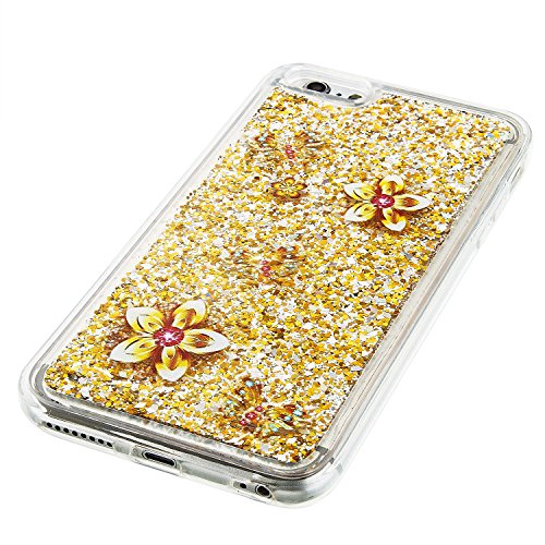 For iPhone 6 PLUS 5.5[CUTE SPARKLING]Novelty Creative Liquid Glitter Design Liquid Quicksand Bling Adorable Flowing Floating Moving Shine Glitter Case -GOLD EIFFEL GOLD FLOWER