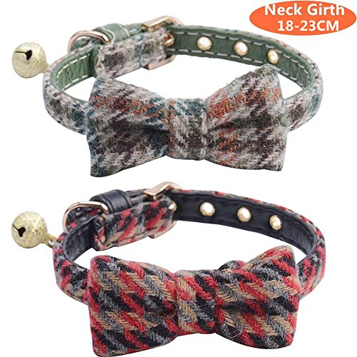 SCENEREAL CO. Cat Collar 2 Pack with Bell Bowtie Adjustable for Cats and Small Puppies,18-23cm
