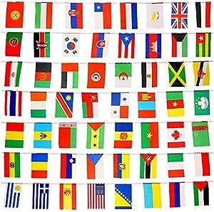 Jettingbuy 82 Ft National Flaggen Wimpelkette World Flaggen Mit 100 Verschiedene Länder Garten