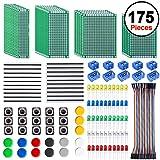 SIQUK 30 Stück Doppelseitige Lochrasterplatine 4 Größen Kit mit 60 Stück LED-Dioden, 20 Stück Steckerleiste und 40 Stück F/F Jumper Wire