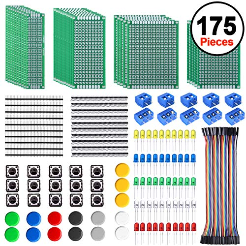 SIQUK 30 Stück Lochrasterplatine Doppelseitig Kit 4 Größen Lochrasterplatte Leiterplatte Platine PCB Prototype Board Kit mit 60 Stück LED-Dioden, 20 Stück Steckerleiste und 40 Stück F/F Jumper Wire - 175 Stück Kit