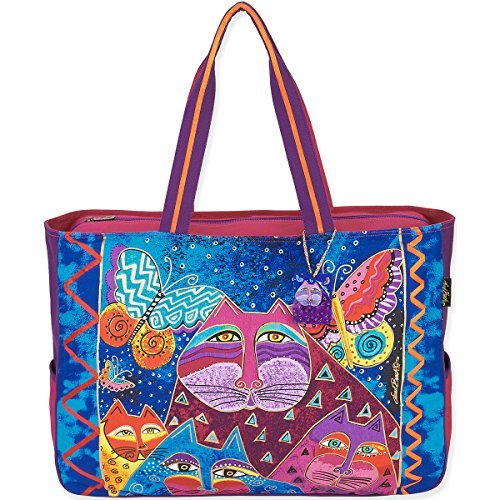Laurel Burch Oversized Tote, 20.5 by 5.5 by 15-Inch, Cats with Butterflies by Laurel (Oversized Tote)