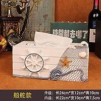 MEICHEN-Vintage Libro di legno scatola tessuto creative box home fashion scatole di carta sala da pranzo vassoio,il timone - Libro Blu Tovagliolo