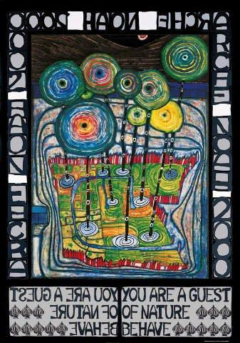 Kunstdruck/Poster: Friedensreich Hundertwasser Arche Noah - hochwertiger Druck, Bild, Kunstposter, 59x84 cm