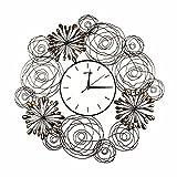 BABYQUEEN Horloge murale ronde en fer forgé salon de mode silencieux Réveil Art déco minimaliste...