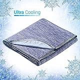 Elegear 2in1 Mikrofaser Selbstkühlende Decke, Kühldecke Kuscheldecke aus Baumwolle Weiche Wohndecke Warm Sofadecke Reisedecke zweiseitige Decke für Erwachsene und Kinder - Blau - 170 x 130 cm