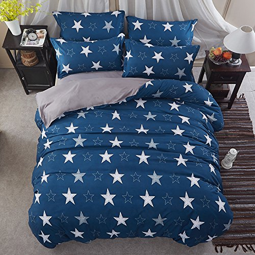 KFZ Bett Set (Zwei Full Queen King Size) [4 Stück: Bettbezug, Bettlaken, 2 Kissenbezüge] keine Tröster KSN Champion Sky Star Noble Gold Star Gruppe Fruit Cartoon Design für Jugendliche, Kinder, Erwachsene, Microfaser, Star Group, Blue, Queen 78
