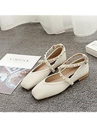 Xue Qiqi Mujeres Solo Zapatos Planos con un Cuadrado Calzado Plano luz-Tira Transversal Baja Biselado con Zapatos...