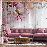 decomonkey | Fototapete Blumen Rosen rosa 250x175 cm XL | Tapete | Wandbild | Wandbild | Bild | Fototapeten | Tapeten | Wandtapete | Wanddeko | Wandtapete | Orchidee weiß violett Holzwand vintage retro