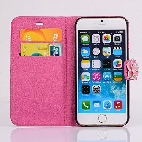 """inShang Hülle für Apple iPhone 6 Plus iPhone 6S Plus 5.5 inch iPhone 6+ iPhone 6S+ iPhone6 5.5"""", Cover Mit Modisch Klickschnalle + Errichten-in der Tasche + SILK PATTERN FLOWER DECORATION , Edles PU L camellia rose"""
